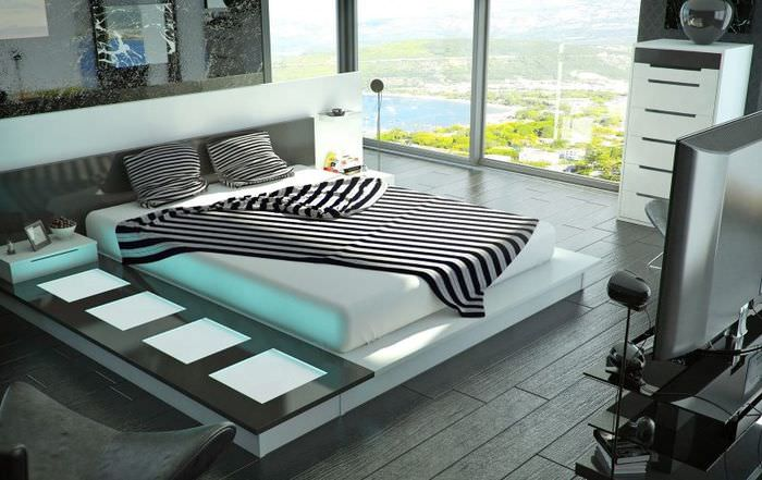 Панорамное окно в спальне стиля хай-тек