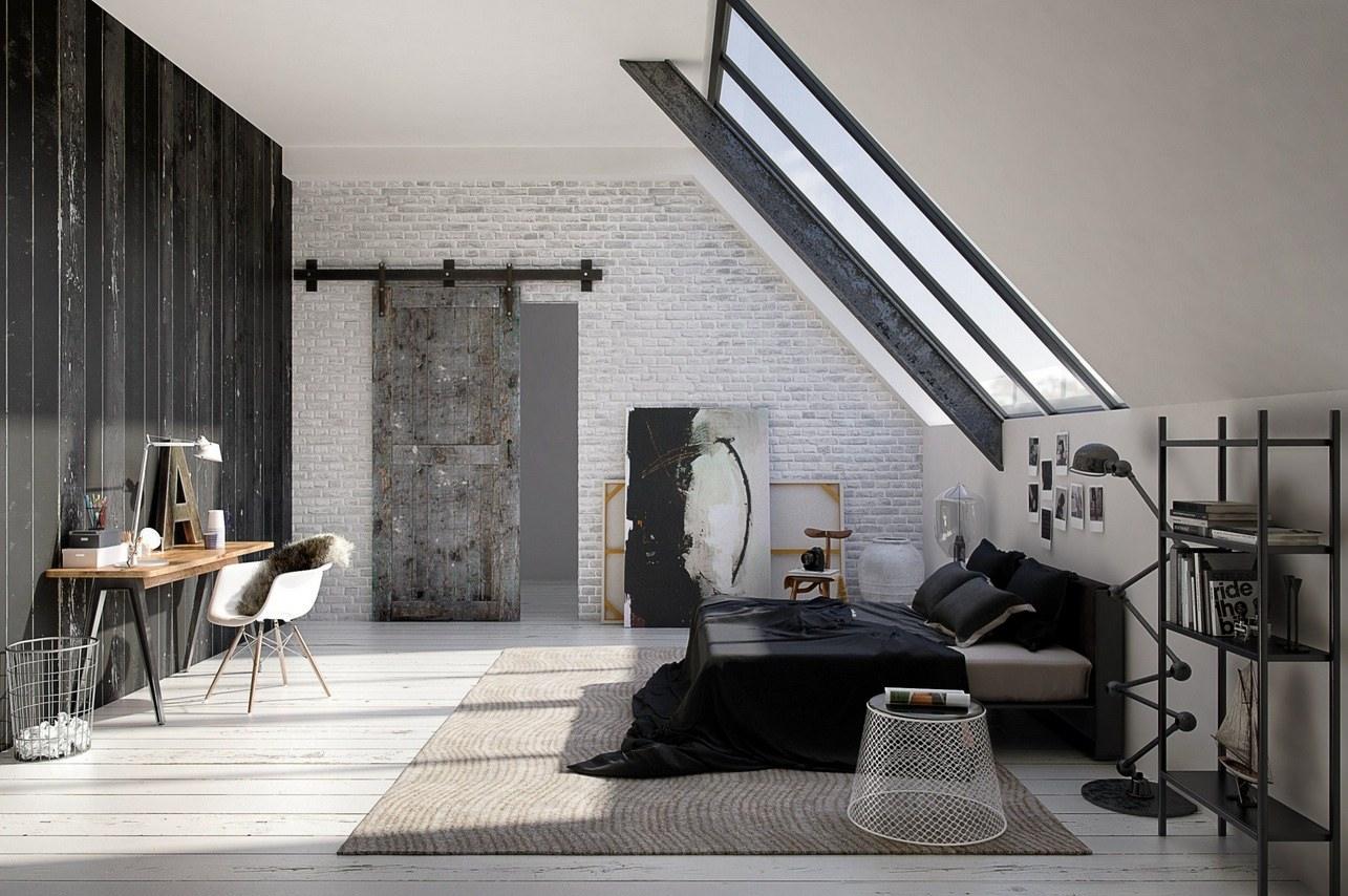 Дизайн современной спальни в мансардном помещении