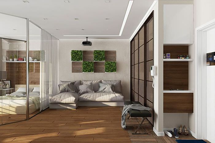 Зонирование квартиры стеклянной перегородкой
