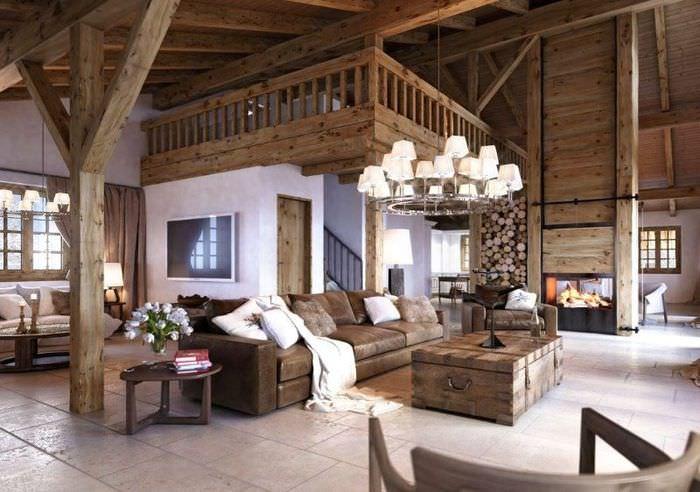 Интерьер большой гостиной в стиле альпийского шале