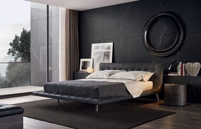 Темно-серые стены в современной спальне