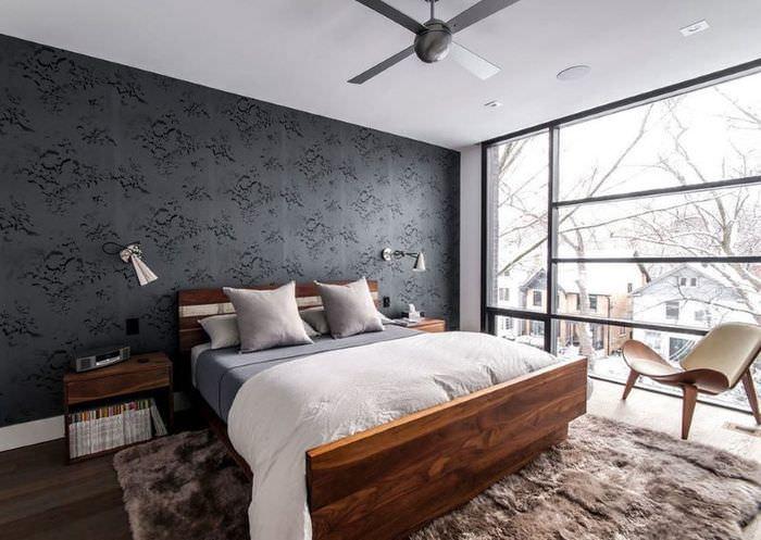 Спальня в стиле модерн с панорамным окном