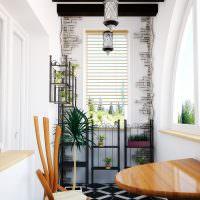 Интерьер балкона с арочным окном