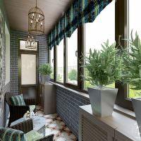 Отделка стен балкона декоративным камнем