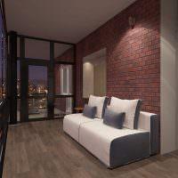 Просторный балкон в стиле лофт