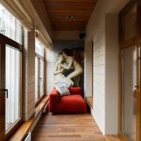Фотообои на стене утепленного балкона
