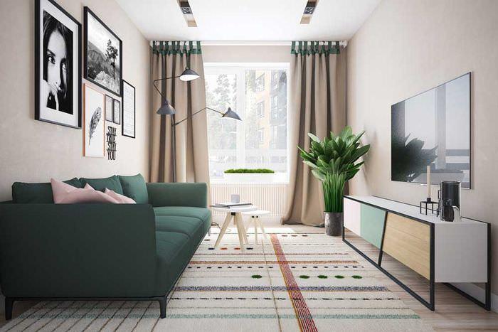 Зеленый диван в гостиной скандинавского стиля
