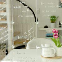 Надписи на английском языке на зеркальной плитке