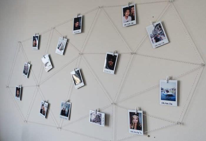 Оформление стены с помощью фотографий без рамок