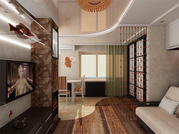 Зонирование кухни-гостиной с помощью напольного покрытия