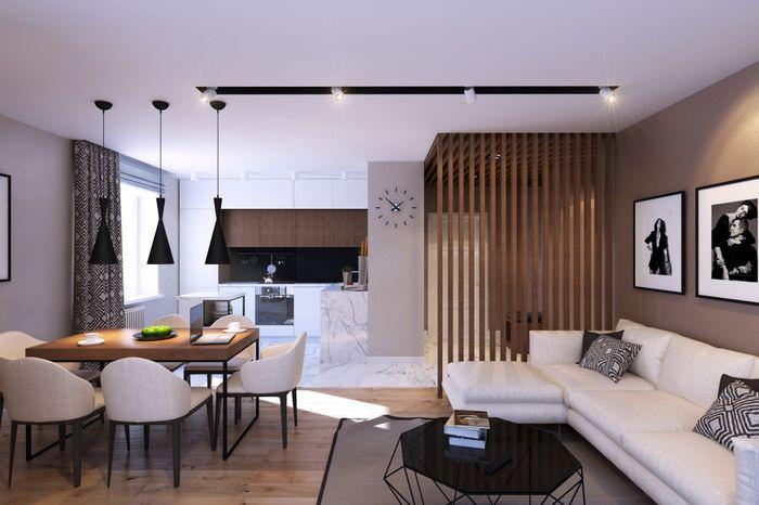 Гипсокартоный потолок в интерьере квартиры-студии