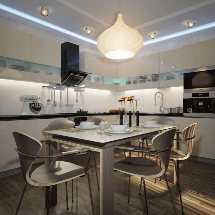 Обеденный стол на кухне-гостиной в стиле хай-тек
