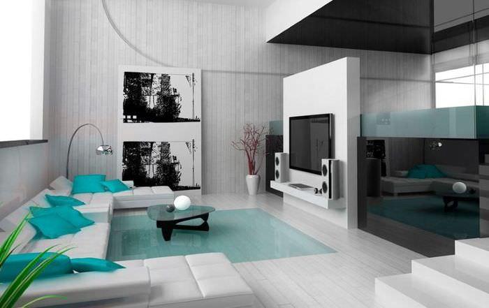 Бирюзовые подушки на белом диване
