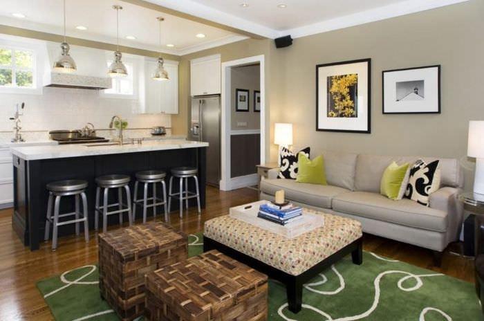 Зонирование кухни-гостиной с помощью ковра