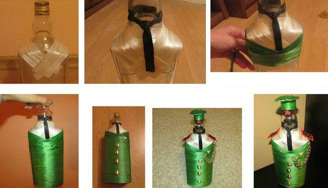 Порядок декорирования бутылки атласными лентами