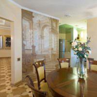 Художественная роспись стены в гостиной загородного дома