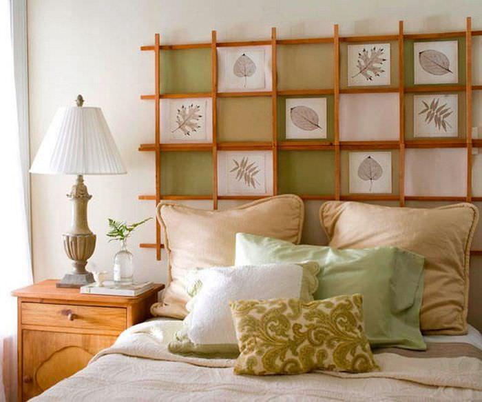 Декор стены над изголовьем кровати