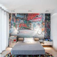Граффити в интерьере спальни подростка