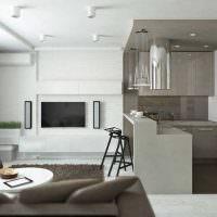 Серо-белый интерьер кухни-гостиной в стиле минимализма
