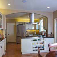 Дизайн кухни-гостиной с дверью в сад частного дома