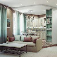 Зонирование подиумом кухни-гостиной