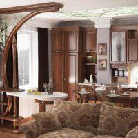 Дизайн классической кухни-гостиной с деревянной мебелью