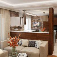 Барная стойка из дерева в дизайне кухни-гостиной