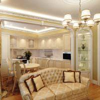 Подсветка потолка кухни-гостиной в стиле классики