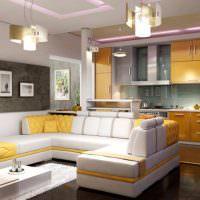 Желтый цвет в дизайне кухни-гостиной