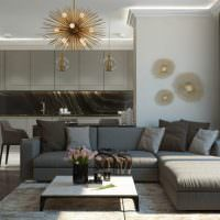 Кухня-гостиная в оттенках серого цвета