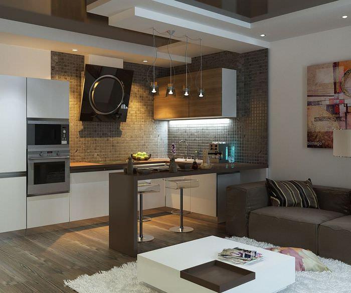Дизайн рабочей зоны в кухне-гостиной