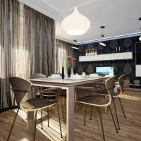 Паркет из натурального дуба на полу современной кухни-гостиной