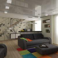 Глянцевая поверхность натяжного потолка