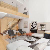 интерьер двухуровневых апартаментов в современном доме