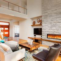 Дизайн гостиной с декоративным камином