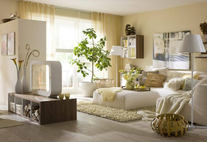 Уютная квартира-студия в экологическом стиле