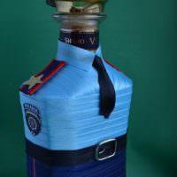 Подарочная упаковка для бутылки из атласных лент