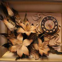 Объемная картина с цветами и часами
