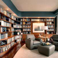 Домашняя библиотека с панорамным остеклением
