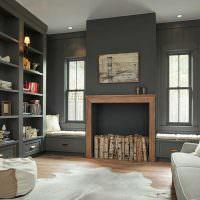 Дизайн гостиной с серыми стенами