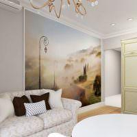 Фотообои на стене гостиной двухкомнатной квартиры