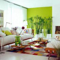 Зеленая стена в дизайне квартиры-студии