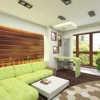 Зонирование гостиной напольным покрытием