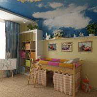 Фотообои с облаками на потолке детской комнаты