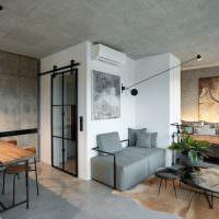 Серый интерьер квартиры-студии