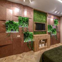 Декор стены спальни комнатными растениями