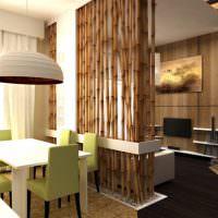 Дизайн гостиной с бамбуковой перегородкой