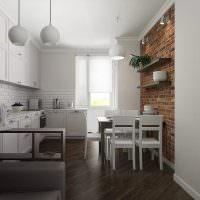 Белая кухня с коричневым полом
