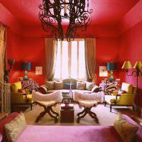 Дизайн гостиной в красном цвете