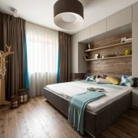 Деревянный пол в серой спальне